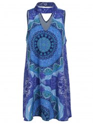 Retro Style Stand Collar Sleeveless Printed Hollow Out Women's Dress -