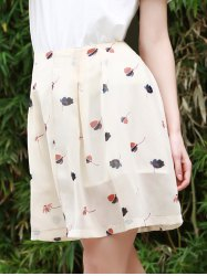 Sweet Buttoned Floral Print A Line Skirt For Women -
