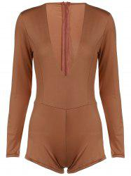 Chic Plunging Neck Long Sleeve Solid Color Skinny Women's Romper