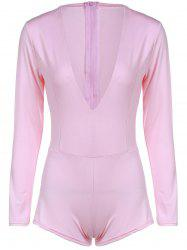 Chic Plunging Neck Long Sleeve Solid Color Skinny Women's Romper - LIGHT PINK S