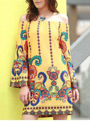 Fashionable Off The Shoudler  Long Sleeve Print A-Line Dress For Women - YELLOW
