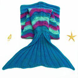 Stylish Sea Wave Pattern Mermaid Shape Kid's Knitted Blanket and Throws