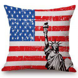 Fashionable American Flag Pattern Square Shape Flax Pillowcase (Without Pillow Inner) - COLORMIX