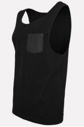 Round Neck PU-Leather Pocket Applique Sleeveless Tank Top For Men - BLACK