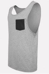 Round Neck PU-Leather Pocket Applique Sleeveless Tank Top For Men - GRAY