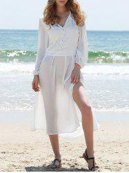 Long Sleeve Slit Shirt Swing Sheer Dress