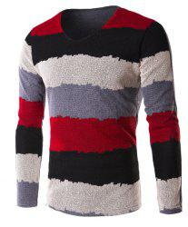 V-Neck Grid Splicing Color Block Stripe Long Sleeve T-Shirt For Men - RED 3XL