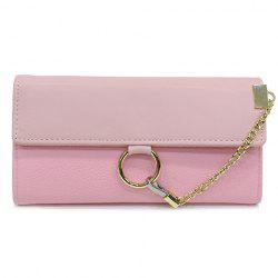 Trendy Chain and Metal Ring Design Wallet For Women -
