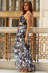 Tropical Floral Two Piece Floor Length Dress
