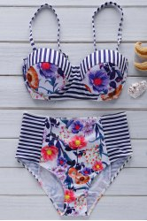 Cami Floral Print Cute High Waist Bikini Set