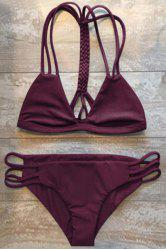 High-Cut Hollow Out Women's Swimsuit Slip - WINE RED