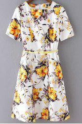 Stylish Round Neck Short Sleeve Elegant Flower Print Women's Dress