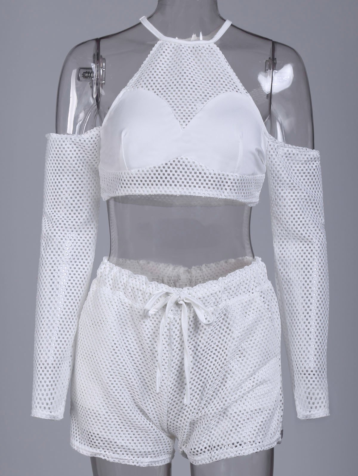 Affordable Sexy Round Collar Hollow Out Pocket Design Women's Activewear Suit