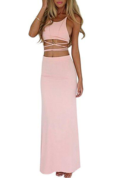 Trendy Sexy Style Spaghetti Strap Solid Color Bandage Backless Sleeveless Dress For Women