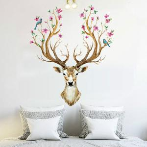 Creative Removable Sika Deer Pattern Wall Stickers Animals