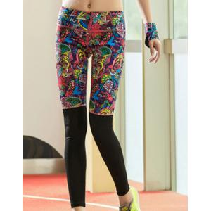 Active Style Elastic Waist Skinny Spliced Printed Colorful Yoga Pants For Women - Colormix - Xl
