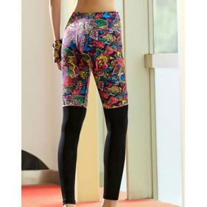Active Style Elastic Waist Skinny Spliced Printed Colorful Yoga Pants For Women - COLORMIX XL