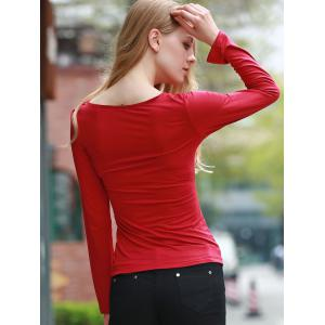 Sexy Plunging Neck Long Sleeve Self-tie T-Shirt For Women - WINE RED S