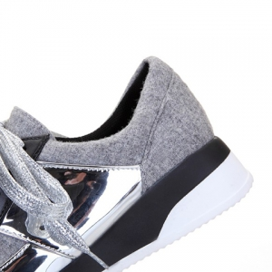 Stylish Splicing and Suede Design Athletic Shoes For Women - LIGHT GRAY 34