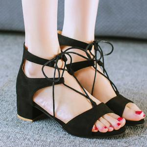 Fashionable Chunky Heel and Lace-Up Design Sandals For Women -