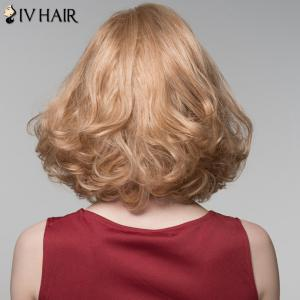 Charming Side Bang Medium Siv Hair Fluffy Curly Capless Human Hair Wig For Women - GOLDEN BROWN/BLONDE