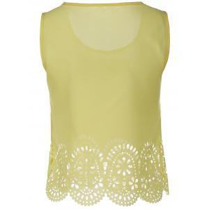 Chic Scoop Neck Sleeveless Hollow Out Solid Color Women's Tank Top -