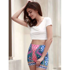 Chic Scoop Neck Short Sleeve T-Shirt +High-Waisted Printed Shorts Women's Twinset -