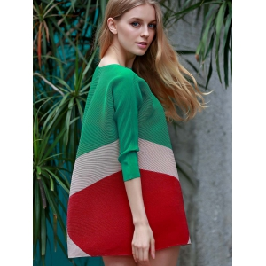 Chic Boat Neck 3/4 Sleeve Color Block Dress For Women -