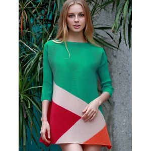 Chic Boat Neck 3/4 Sleeve Color Block Dress For Women - GREEN ONE SIZE(FIT SIZE XS TO M)