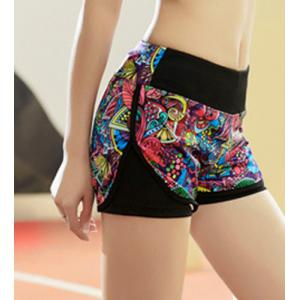 Elastic Waist Colorful Print Yoga Running Shorts -