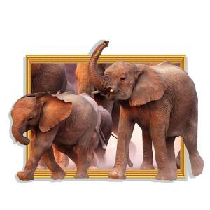 Waterproof Elephants Pattern 3D Removable Wall Stickers For Kid's Rooms - BROWN