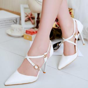 Elegant Cross Straps and Embossing Design Pumps For Women -