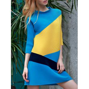 Stylish Color Block Stand Collar 3/4 Sleeve Dress For Women