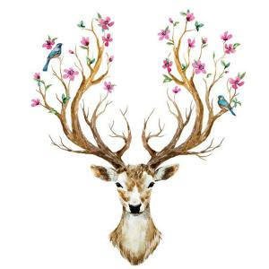 Creative Removable Sika Deer Pattern Wall Stickers Animals -