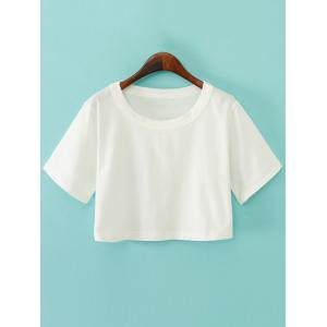 Round Neck Plain Boxy Jersey Crop Top Tee - White - One Size