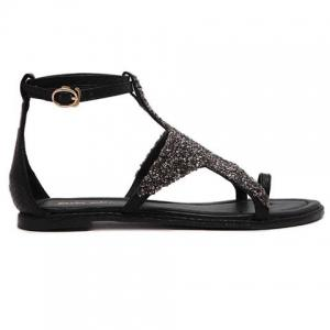 Stylish Sequined Cloth and Star Design Sandals For Women - BLACK 36