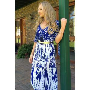Stylish Plunging Neck Printed Split Sleeve Maxi Dress For Women -