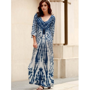 Stylish Plunging Neck Split Sleeve Printed Maxi Dress For Women -