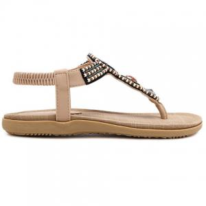 Casual Elastic and Beading Design Sandals For Women - APRICOT 40