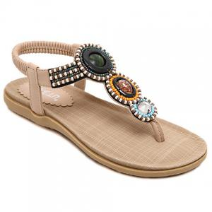 Casual Elastic and Beading Design Sandals For Women - Apricot - 40