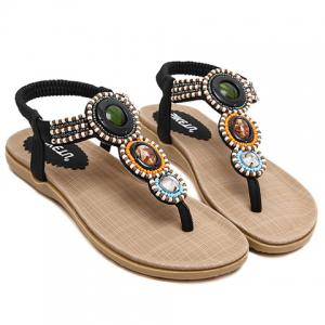 Casual Elastic and Beading Design Sandals For Women - BLACK 38