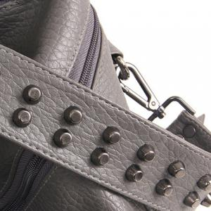 Fashion Rivets and Black Color Design Satchel For Women - GRAY