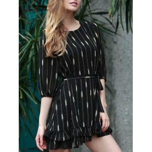 Stylish Jewel Neck 3/4 Sleeve Printed Ruffled Dress For Women - Black - Xl