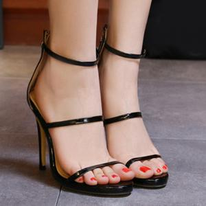 Fashionable Strappy and Zipper Design Sandals For Women - BLACK 38