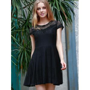 Lace Flare Short Formal Party Dress - BLACK L