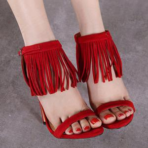 Stylish Suede and Fringe Design Sandals For Women -