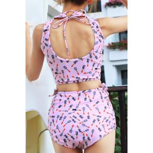 Fashionable Stand Collar Lipstick Pattern High-Waisted Swimsuit For Women -