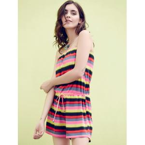 Off The Shoulder Striped Rainbow Romper -