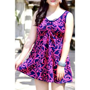 Chic Sleeveless Printed One-Piece Dress Swimwear For Women