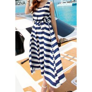 Brief Scoop Neck Stripe Mid-Calf Sleeveless Dress For Women -